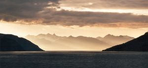 Lyngenfjord near Skibotn in north norway at evening
