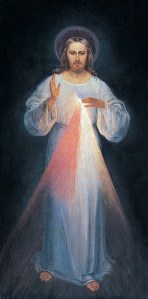 Imagen de la Divina Misericordia. Pintada por (Eugeniusz Kazimirowski, 1934) bajo la guía de Maria Faustyna Kawalska.